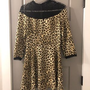 Zara Leopard Print Dress with Lace Bib (M)